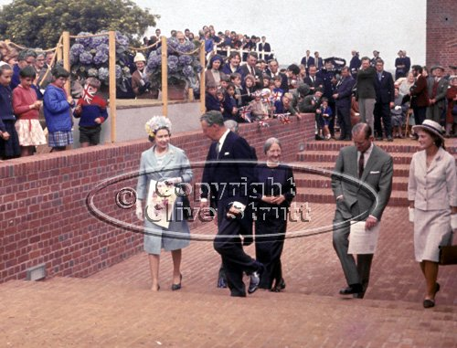 The Queen, Benjamin Britten and Imogen Holst opening Snape Maltings in 1967