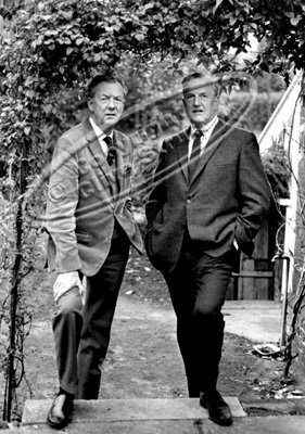 Benjamin Britten and Peter Pears in Red House garden