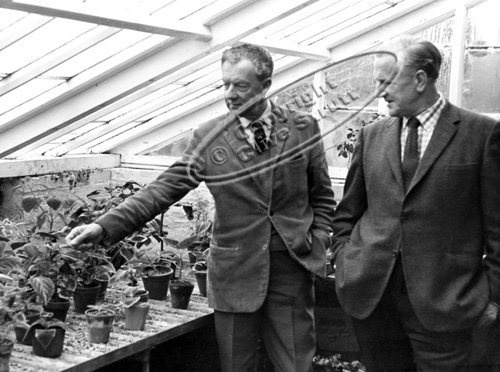 Benjamin Britten and Peter Pears in Red House greenhouse