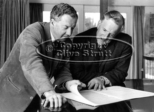 Benjamin Britten and Peter Pears looking at score