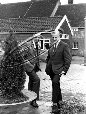 Benjamin Britten and Peter Pears in Red House courtyard