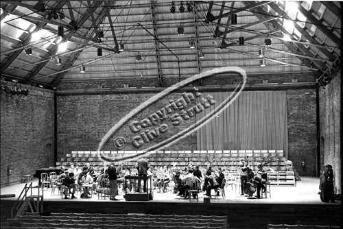 Interior of maltings during rehearsal for opening