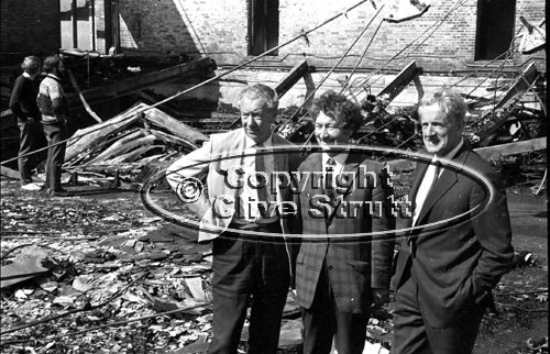 Benjamin Britten and Peter Pears at fire damaged Snape Maltings in 1969