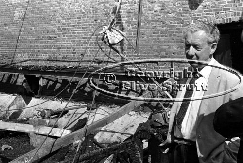 Benjamin Britten at fire damaged Snape Maltings in 1969