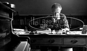 Benjamin Britten at his desk in Red House