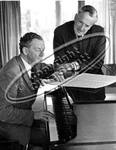 Benjamin Britten and Peter Pears at the piano in Red House