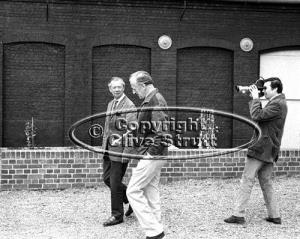 Benjamin Britten and Peter Pears being filmed by Clive Strutt